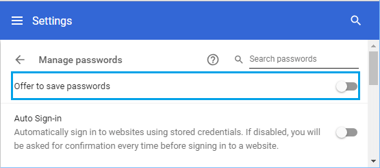 Disable Offer to Save Password in Chrome Browser