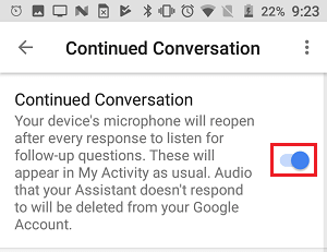Enable Continued Conversation Feature