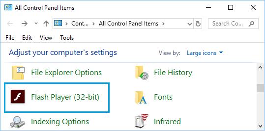 Flash Player Icon on Windows Control Panel Screen