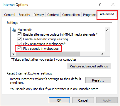Play Sounds in webpages Option in Internet Advanced Options