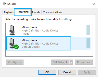 Microphone on Recording Devices Tab