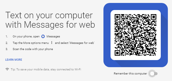 Android Messages Web Interface QR Code