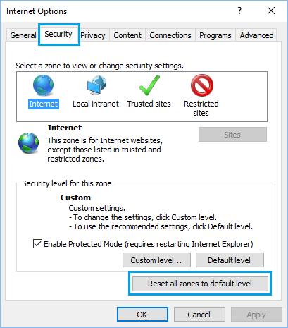 Reset All Zones to Default Level Option onInternet Options Screen