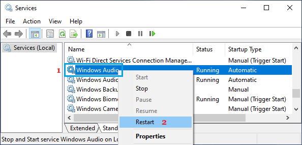 Restart Windows Audio Service