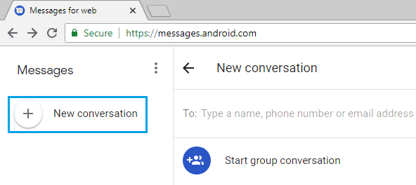 Start New Conversation Using Messages App on Computer
