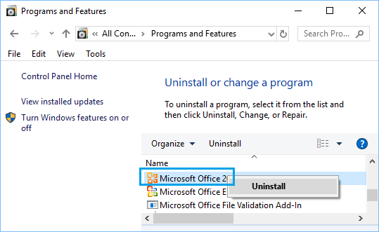 Uninstall Program in Windows 10