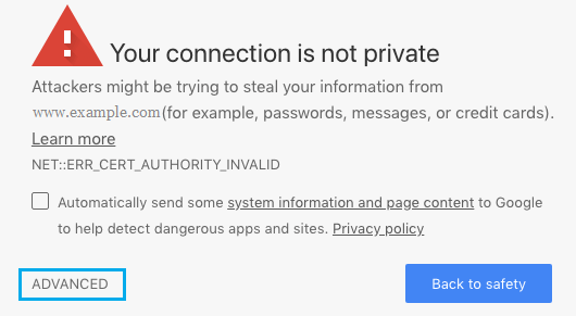 Advanced Option in Your Connection is Not Private Error in Chrome