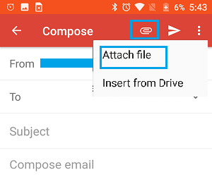 Attach File Option in Gmail on Android Phone
