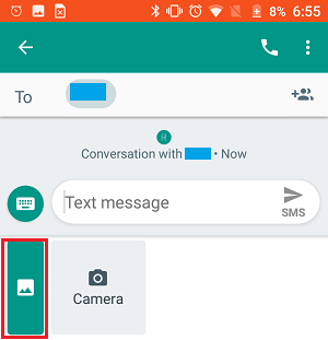 Photos Icon on Android Messages App
