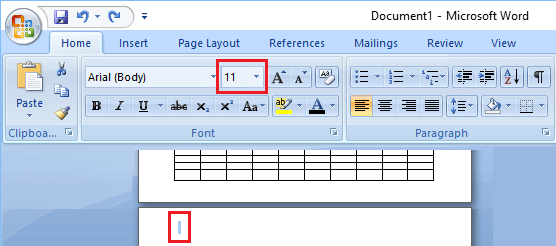 Adjust Font Size Option in Microsoft Word