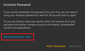 Factory Reset Kindle Fire Pop-up