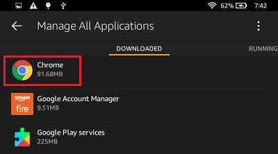 List of Downloaded Applications on Kindle Fire