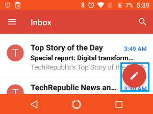 Open New Message in Gmail on Android Phone