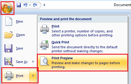 Print Preview Microsoft Word Document