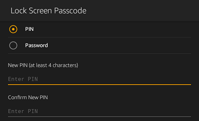 Reset Kindle Fire Password or PIN