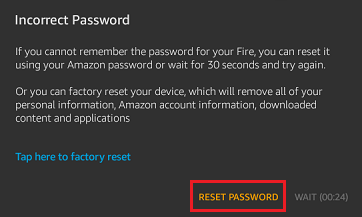 Reset Password Option on Kindle Fire