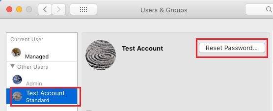 Reset User Account Password on Mac