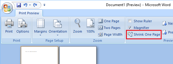 Shrink One Page Option in Microsoft Word