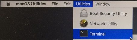 Utilities and Terminal Options on Mac in Recovery Mode