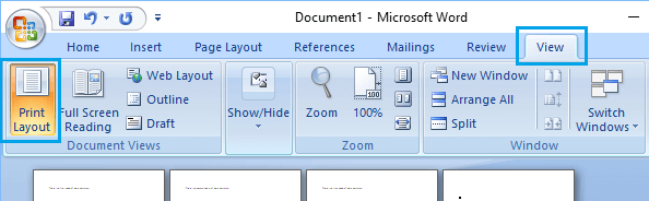 Print Layout Option in Microsoft Word