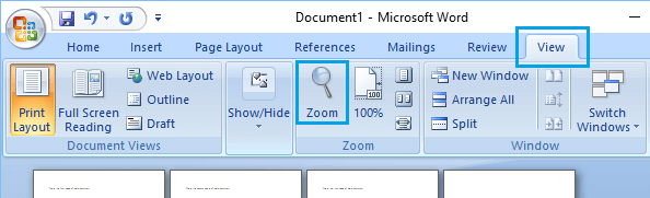 Adjust Page Zoom Option in Microsoft Word