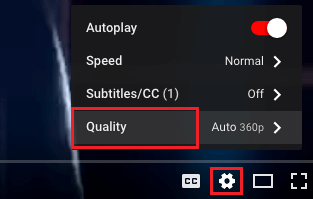 Set Video Quality Option in YouTube
