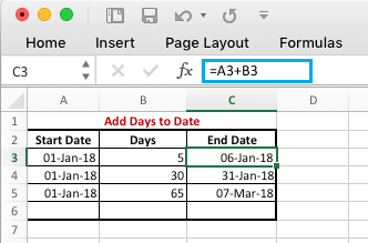 Add Days to Date in Excel