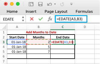 Add Months to Dates in Excel