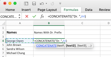 Add Prefix in Excel Using Concatenate Function