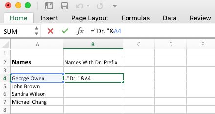 "Add Prefix in Excel Using ""&"" Operator"