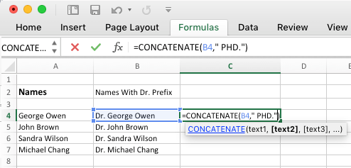 Add Suffix in Excel Using Concatenate Function