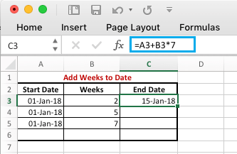 Add Weeks to Date in Excel