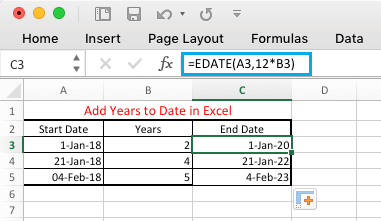 Add Years to Date in Excel