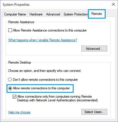 Allow Remote Connections to This Computer Option