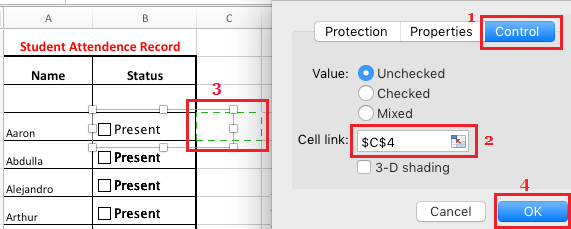 Link Check Boxes to Cells in Excel