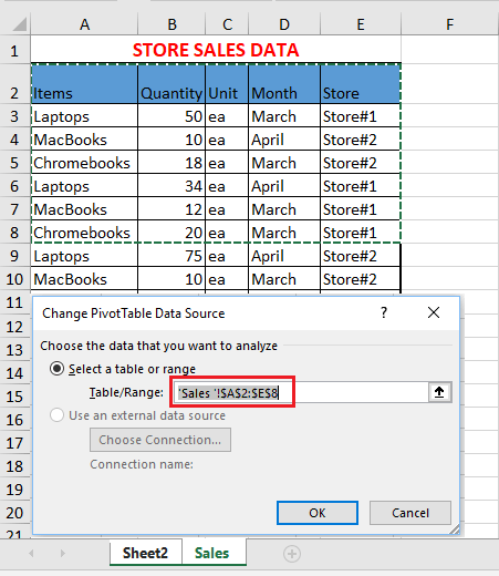 Change Pivot Table Data Range