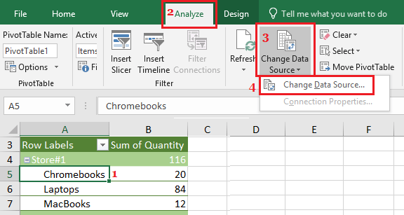 Change Pivot Table Source Data