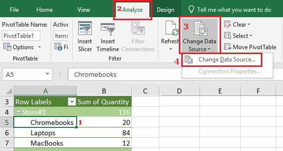 Change Pivot Table Source Data