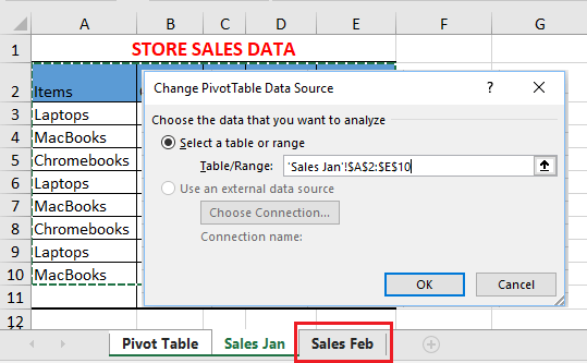 Change Pivot Table Data Source to New Worksheet