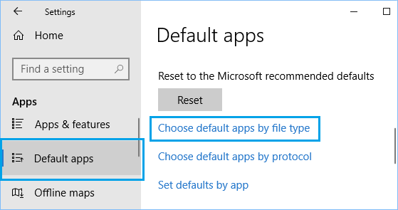 Choose Default Apps by File Type Option in Windows 10