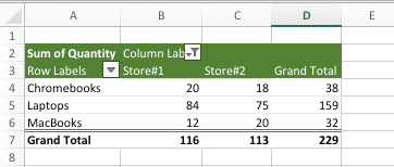 Pivot Table Showing Row and Column Grand Totals