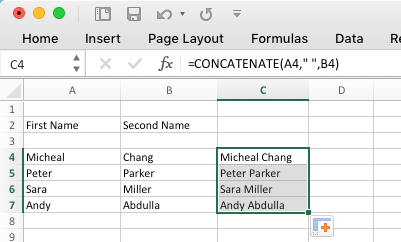 Combine Content in Group of Cells Using Concatenate Function