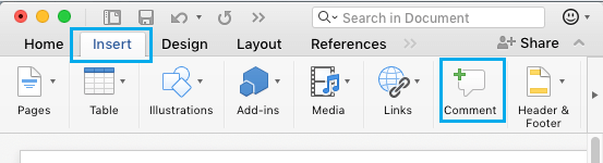 Insert Comment Option in Microsoft Word