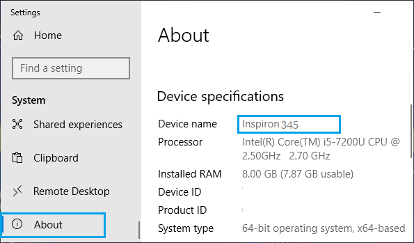 Windows Computer Name on System Settings Screen