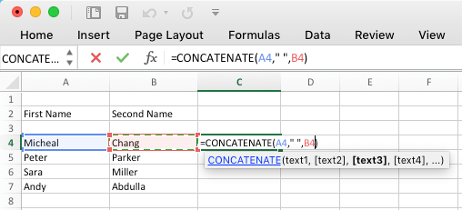 Combine Text Strings Using Concatenate Function in Microsoft Excel