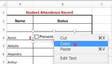 Copy Check Box in Excel