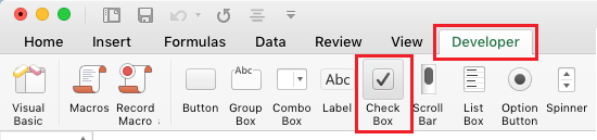 Developer Tab and Check Box Option in Excel