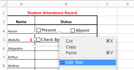 Edit Check Box Text in Excel
