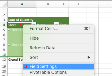 Access Field Data Settings to Add Subtotals in Pivot Table