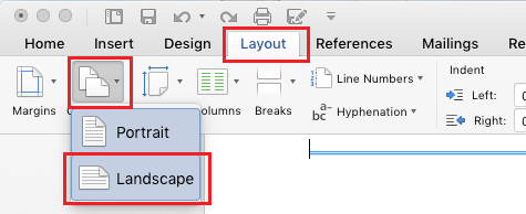 Switch Single Page to Landscape Mode in Word Document